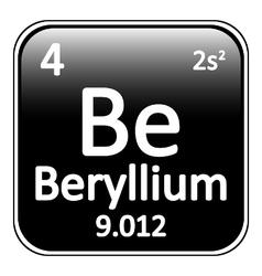 Periodic table element beryllium icon vector