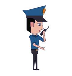 Policeman working avatar cartoon character blue vector