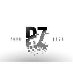 pz p z pixel letter logo with digital shattered vector image