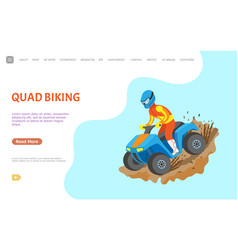 Quad biking hobman leisure website with text vector