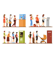 queue people set vector image