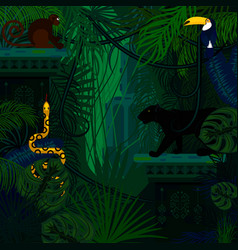 Rainforest wild animals and plants vector