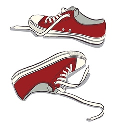 Red sneakers vector