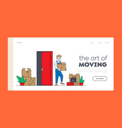 Relocation and moving into new house landing page vector