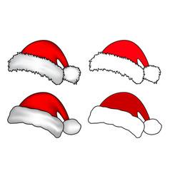 santa hat christmas cap icon set symbol design vector image