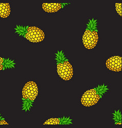 seamless pattern pineapples on black background vector image