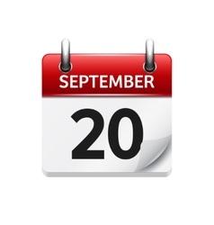 September 20 flat daily calendar icon vector