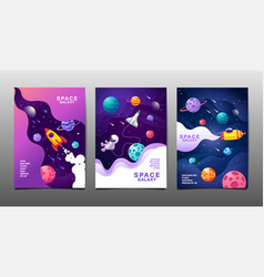 set banner templates universe space space vector image