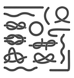 set different black rope elements and knots vector image