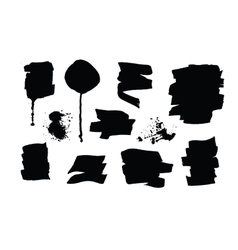 Set of black grunge brush strokes and splashes vector image