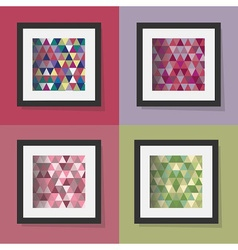 set of colorful triangle patterns in frames vector image