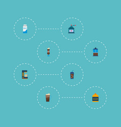 set of drink icons flat style symbols with pocket vector image