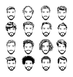 Set of men s hairstyles beards and mustache Hand vector image