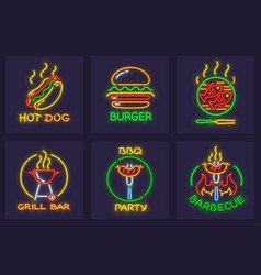 set of neon icons for barbecue vector image