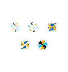 set of team work logo design template vector image