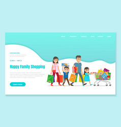 Shopping landing web page family with shop bags vector