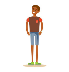 smiling young man in t-shirt vector image