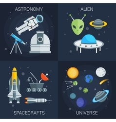 Space Flat Compositions vector image
