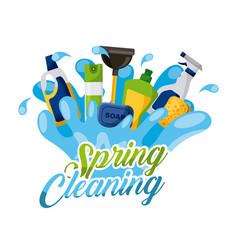 spring cleaning splash soap air freshner spray vector image