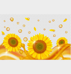 sunflower oil realistic golden drops oil waves vector image
