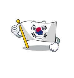 Thumbs up korean flag in cartoon shape vector