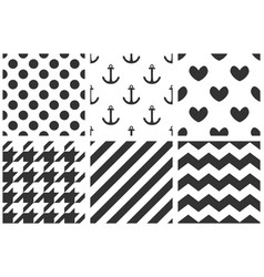 tile sailor pattern set with black polka dots vector image