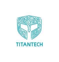 titan mask with fingerprint shape for tech company vector image