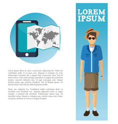 Travel flyer man catalog vacation vector