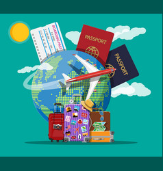 Travel suitcase with stickers and world map vector
