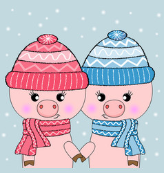 two cute pigs hello winter vector image