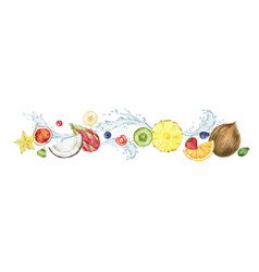 Watercolor composition with fresh fruit and vector