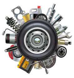 wheel with car spares vector image