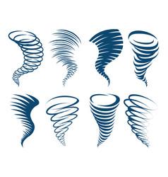 whirlwind swirl storm icons set vector image