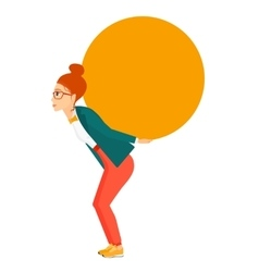Woman carrying big ball vector image