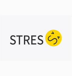 Word stress and negative mood yellow emoji banner vector