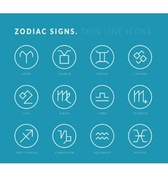 Zodiac signs Thin line icons vector
