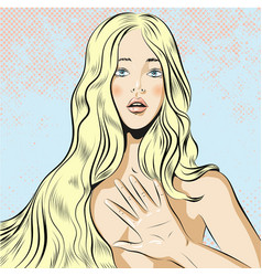 beautiful woman with long blond hair qestuing no vector image vector image