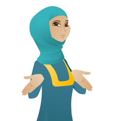 confused muslim business woman shrugging shoulders vector image