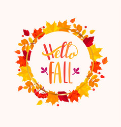 hello fall lettering in frame from autumn leaves vector image vector image