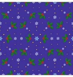 holly berries and snowflakes vector image vector image