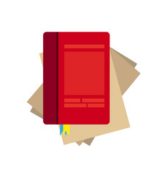 paper notebook on white background lined page vector image
