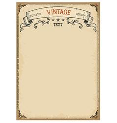 Vintage background on old paper with ornate frame vector image vector image