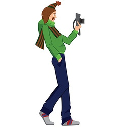 Cartoon man with photo camera walking vector image
