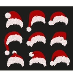 Collection of red santa hats vector image
