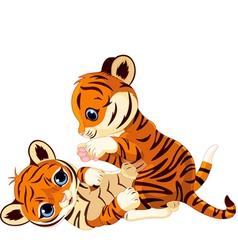 Cute playful tiger cub vector image vector image