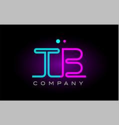 neon lights alphabet tb t b letter logo icon vector image vector image