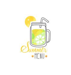 summer menu logo badge for vegetarian restaurant vector image