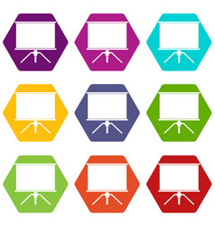 Blank projection screen icon set color hexahedron vector