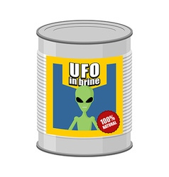 Canned UFO Tin can alien vector image