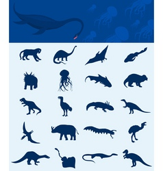 collection of a dinosaurs vector image